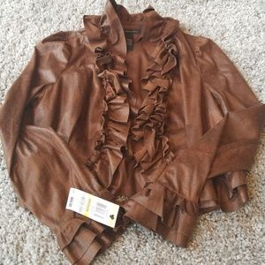 INC Brown Polyester Open Front NWT